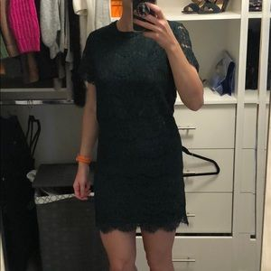 Forest green mini shift dress.